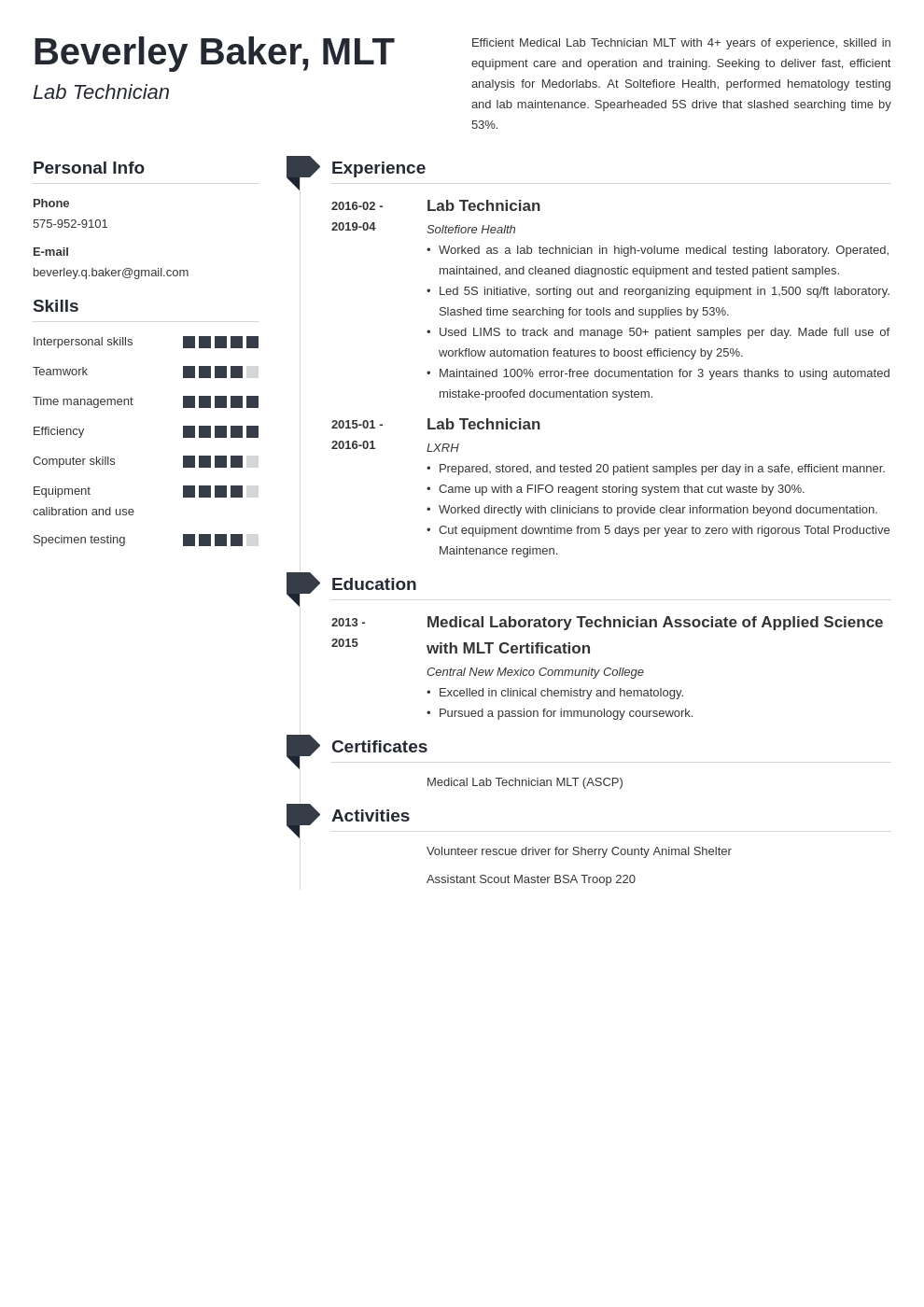 lab technician resume example template muse