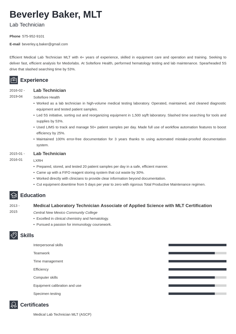 lab technician resume example template newcast