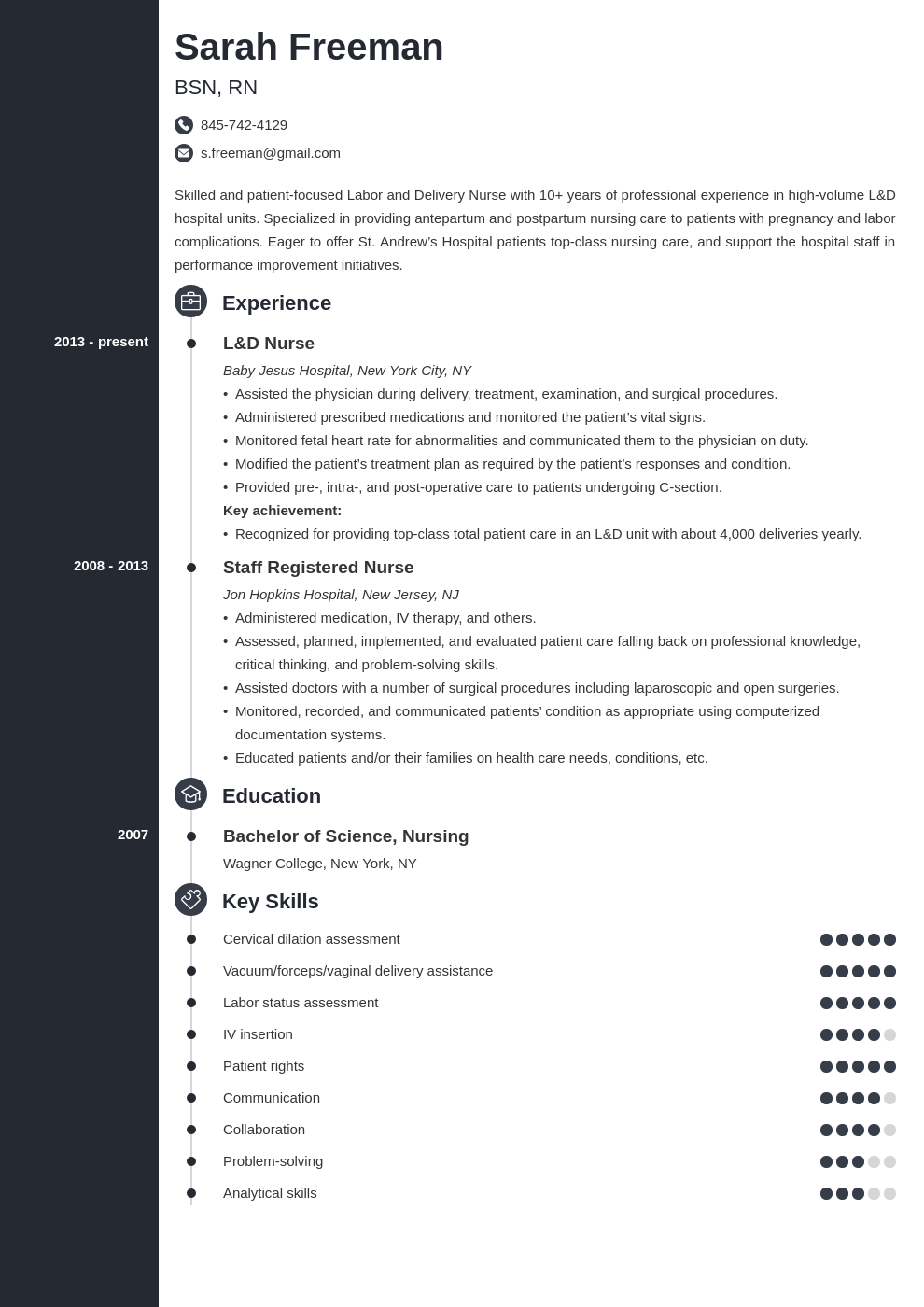 labor and delivery nurse resume example template concept