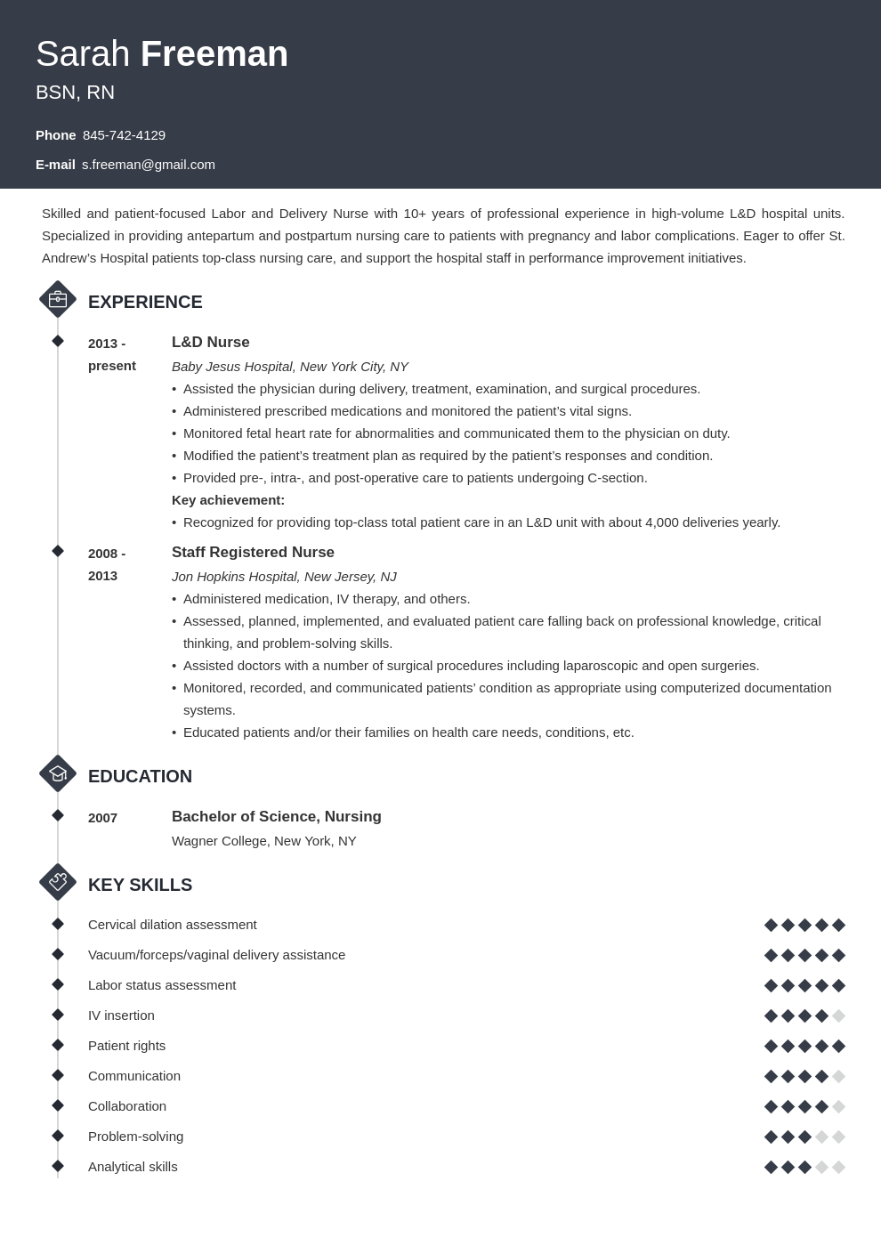 labor and delivery nurse resume example template diamond