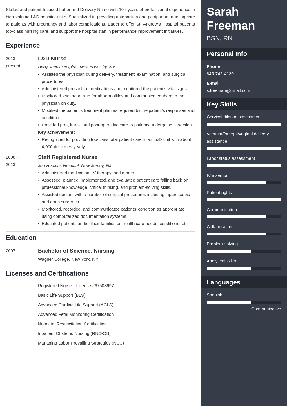 labor and delivery nurse resume example template enfold