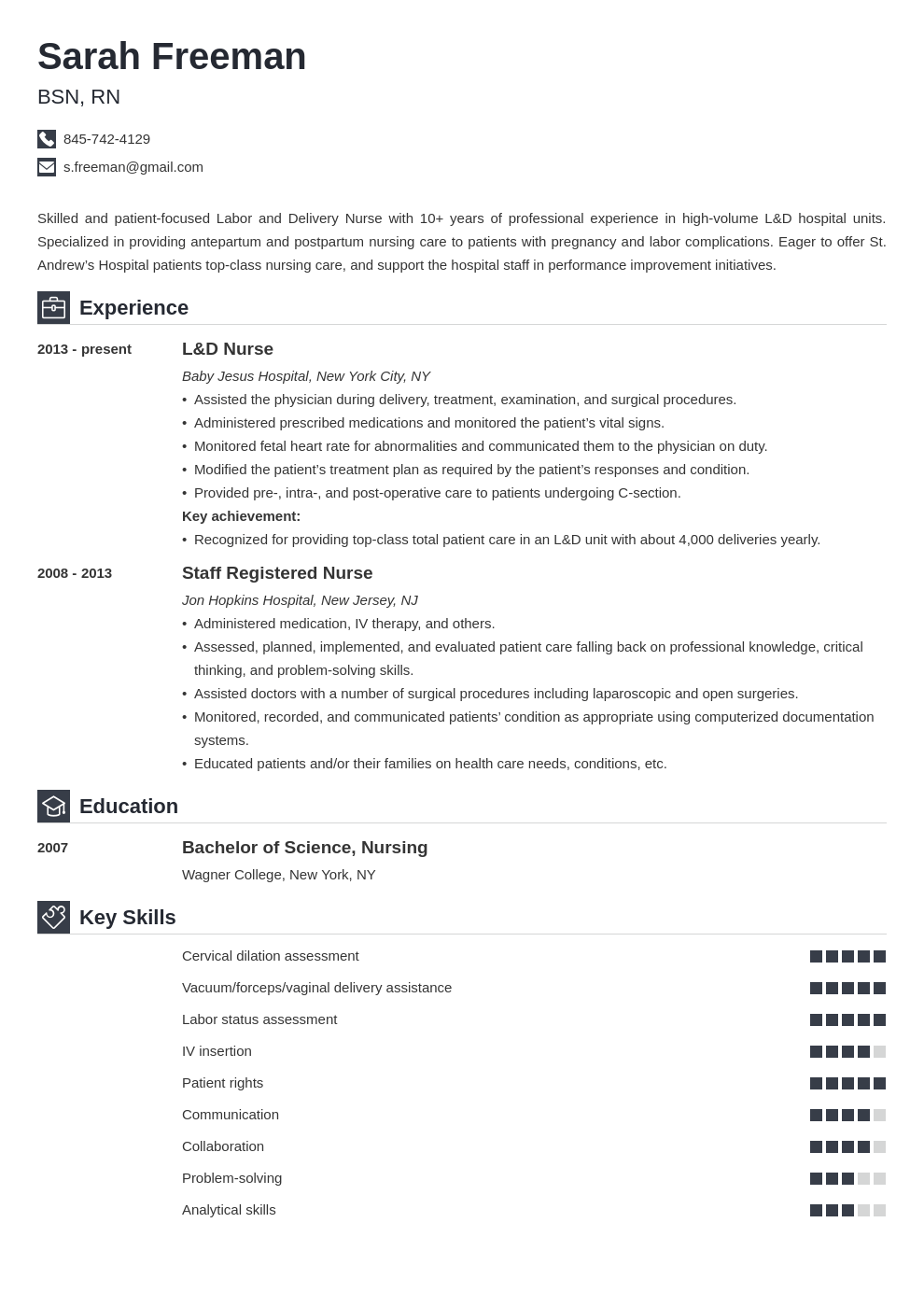 labor and delivery nurse resume example template iconic