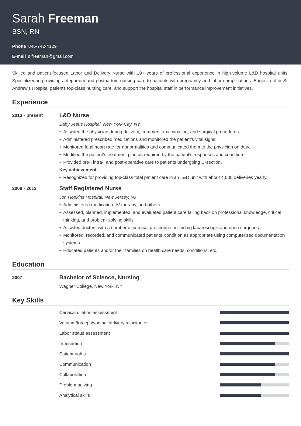 labor and delivery nurse resume example template influx