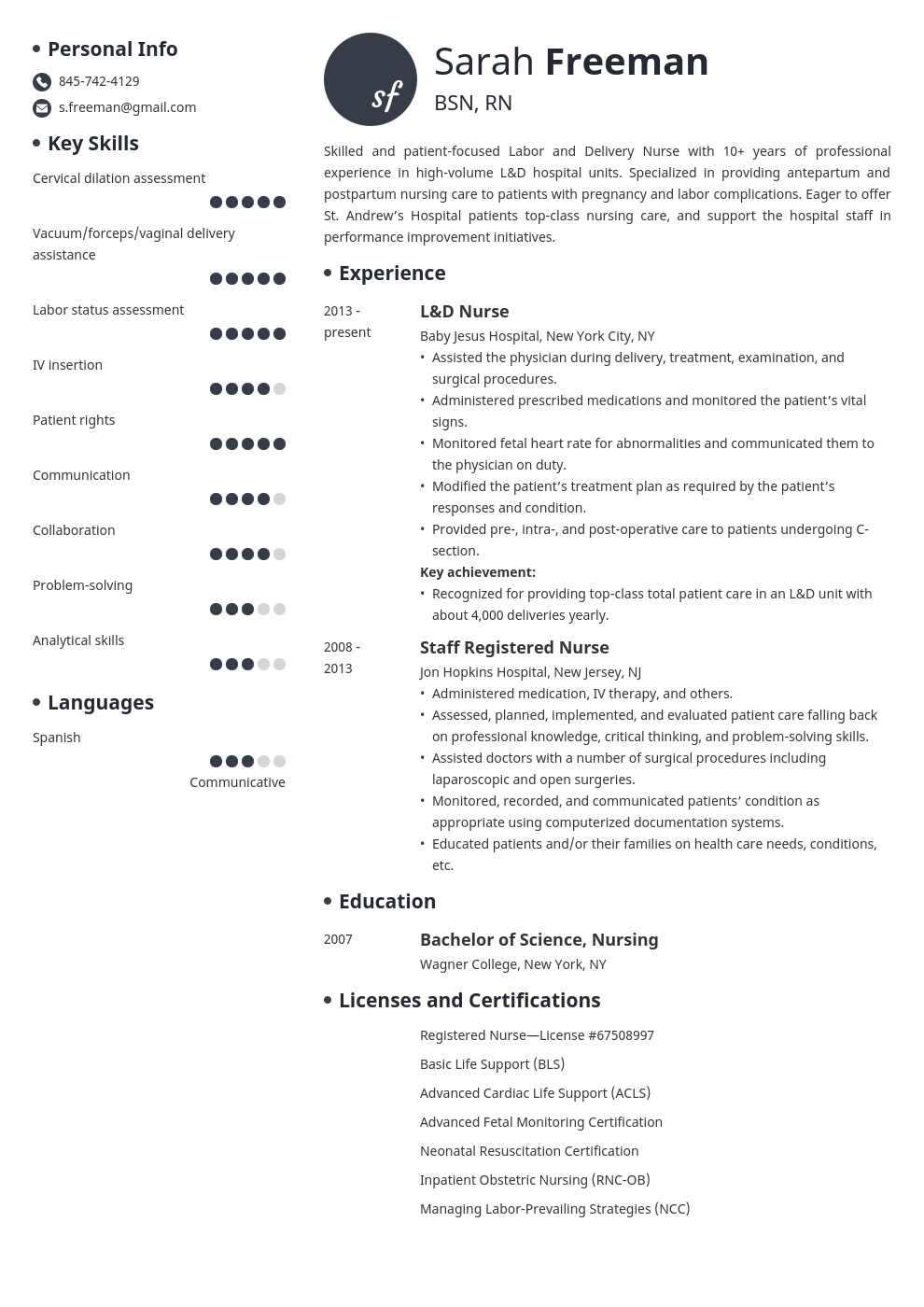 labor and delivery nurse resume example template initials