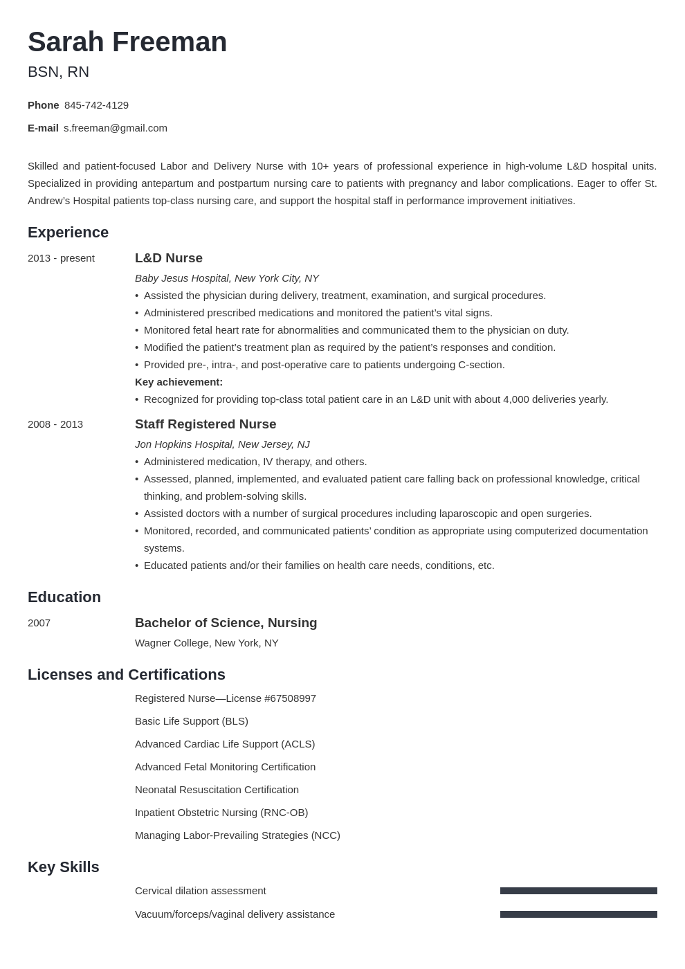 labor and delivery nurse resume example template minimo