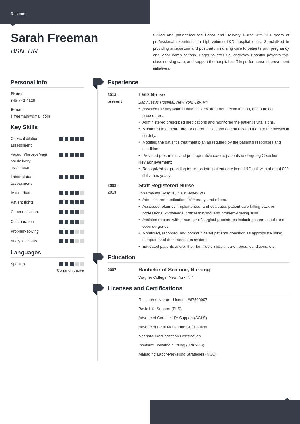 labor and delivery nurse resume example template modern