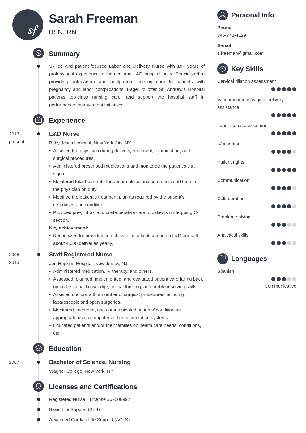 labor and delivery nurse resume example template primo