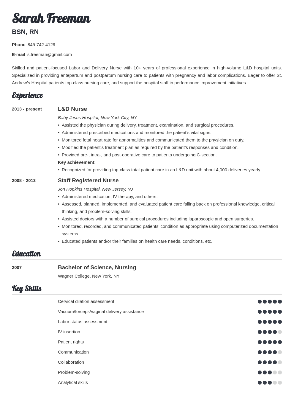 labor and delivery nurse resume example template valera