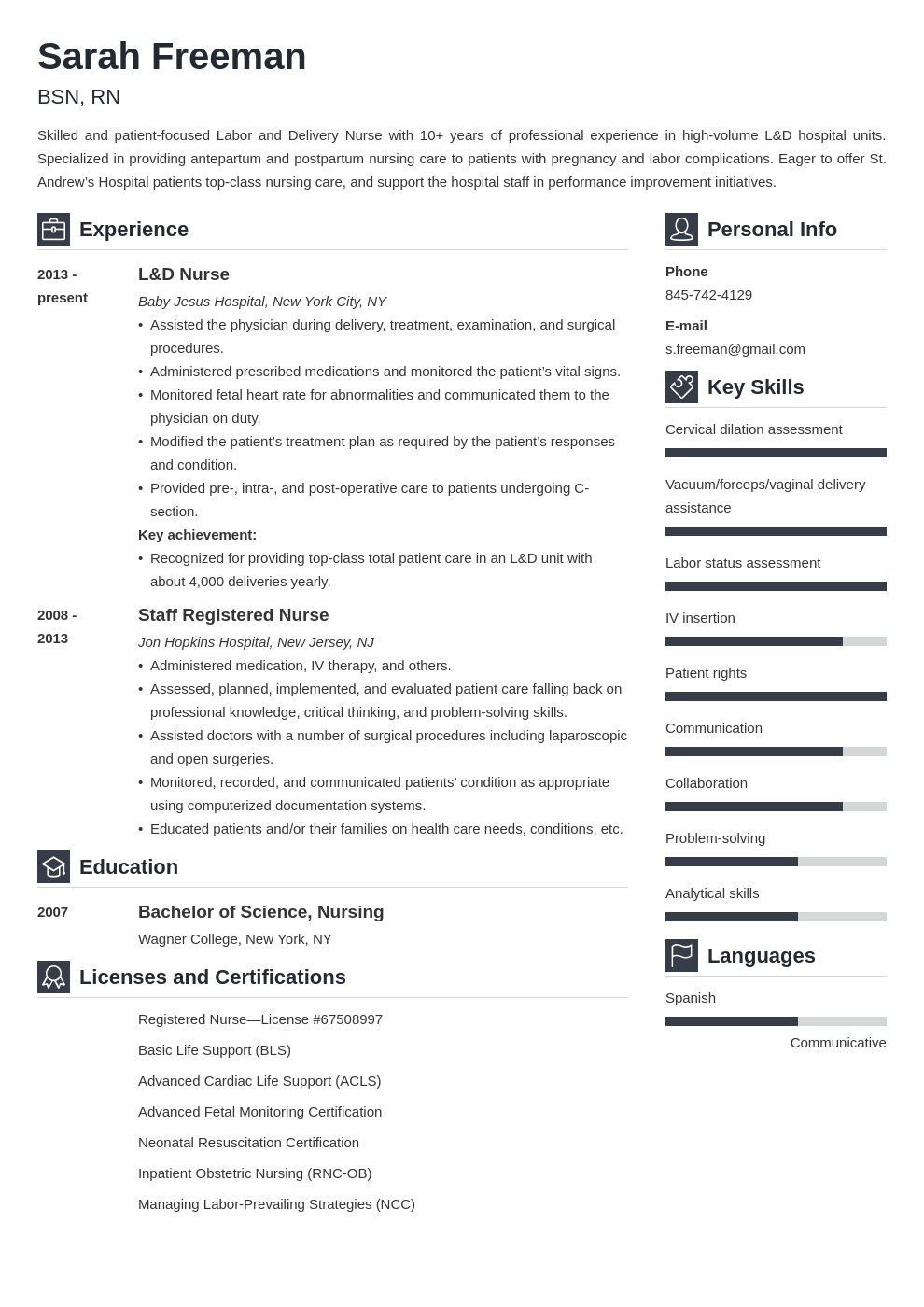 labor and delivery nurse resume example template vibes
