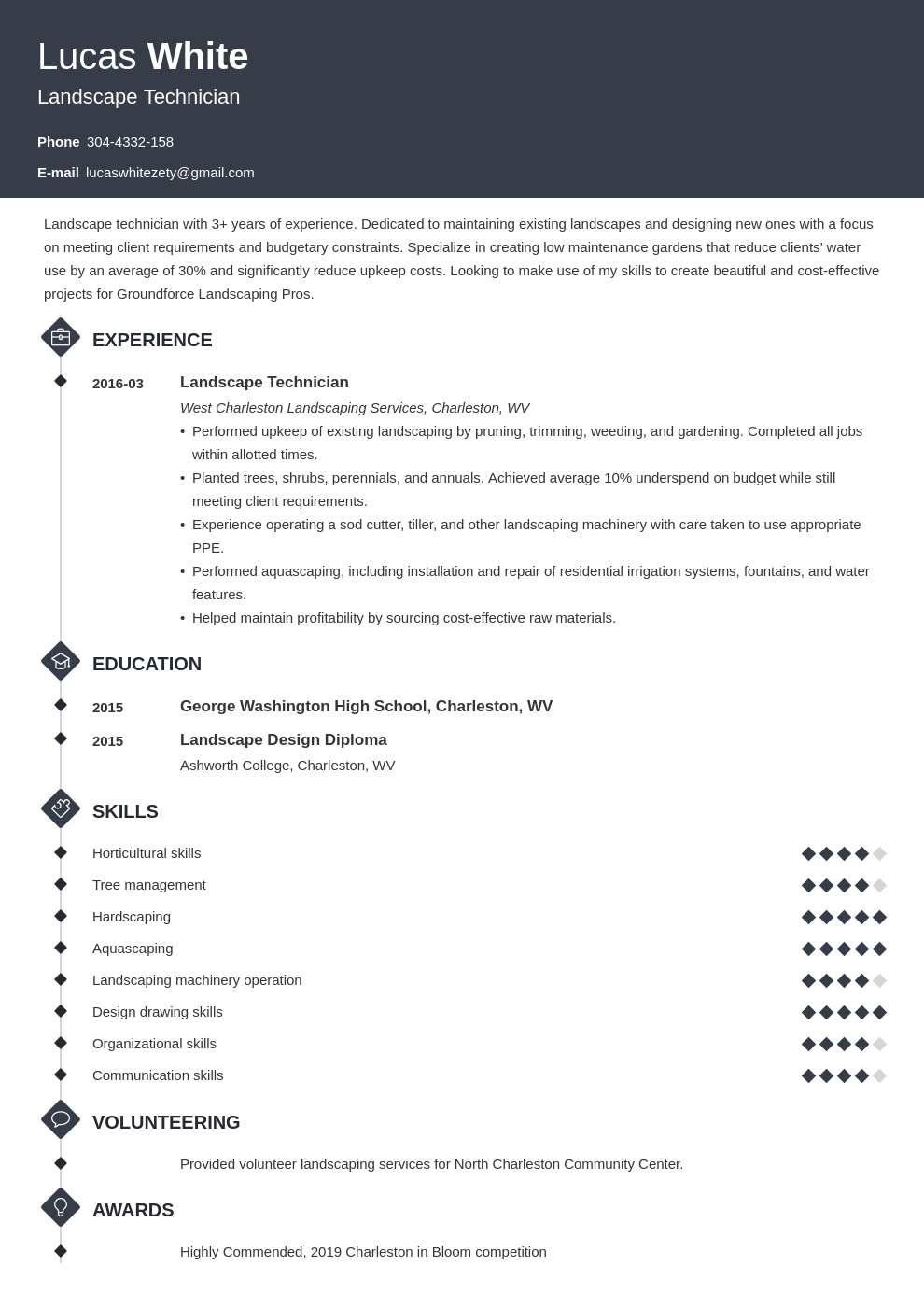 landscaping resume example template diamond