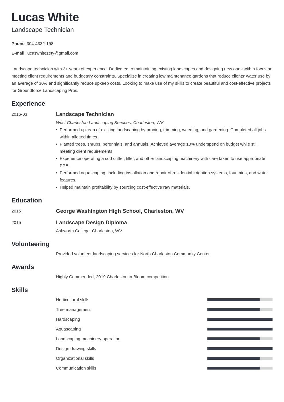 landscaping resume example template minimo