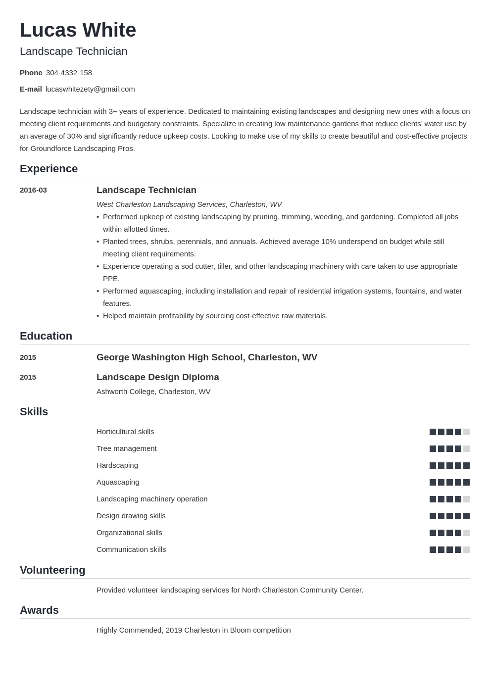 landscaping resume example template nanica