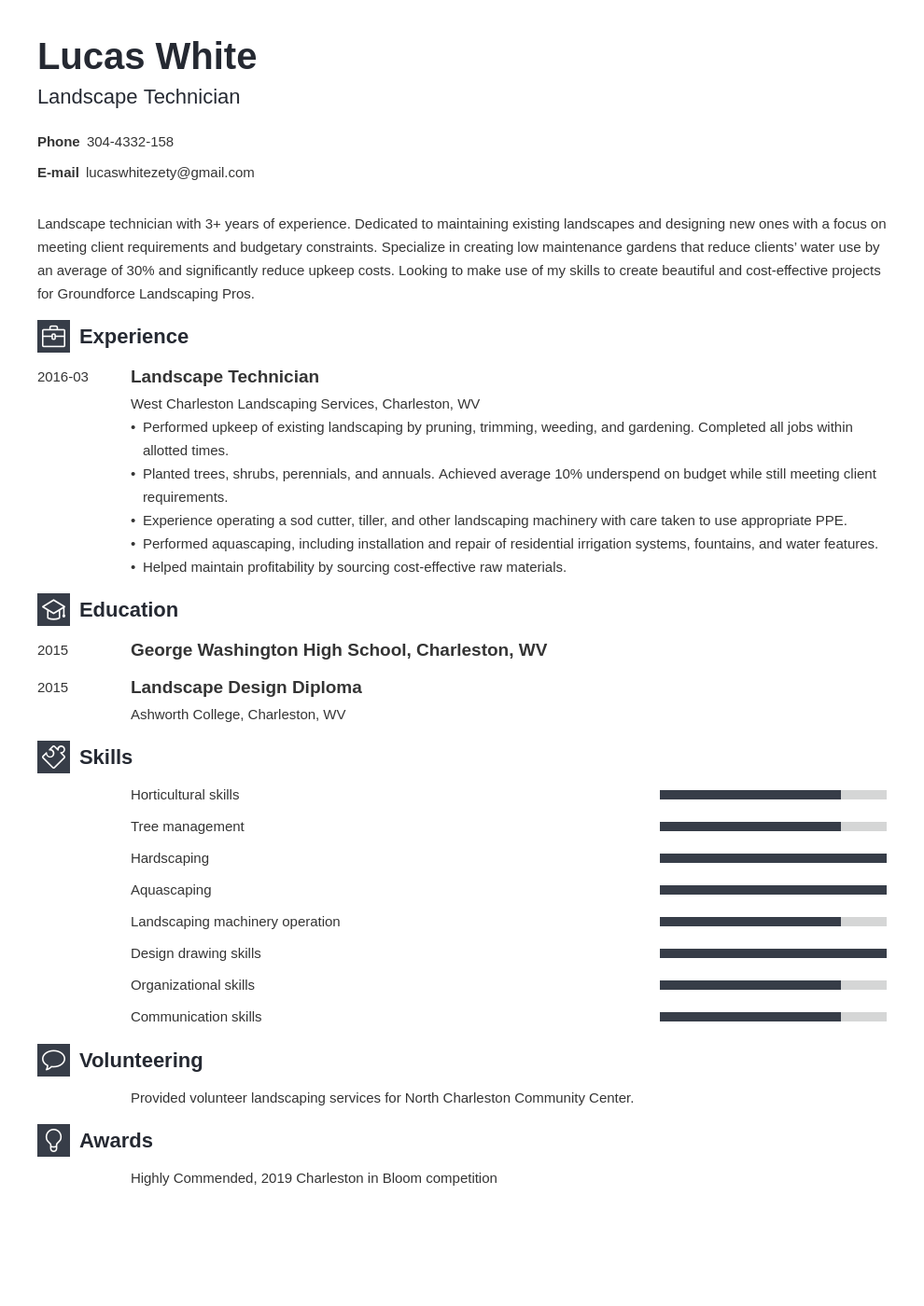 landscaping resume example template newcast