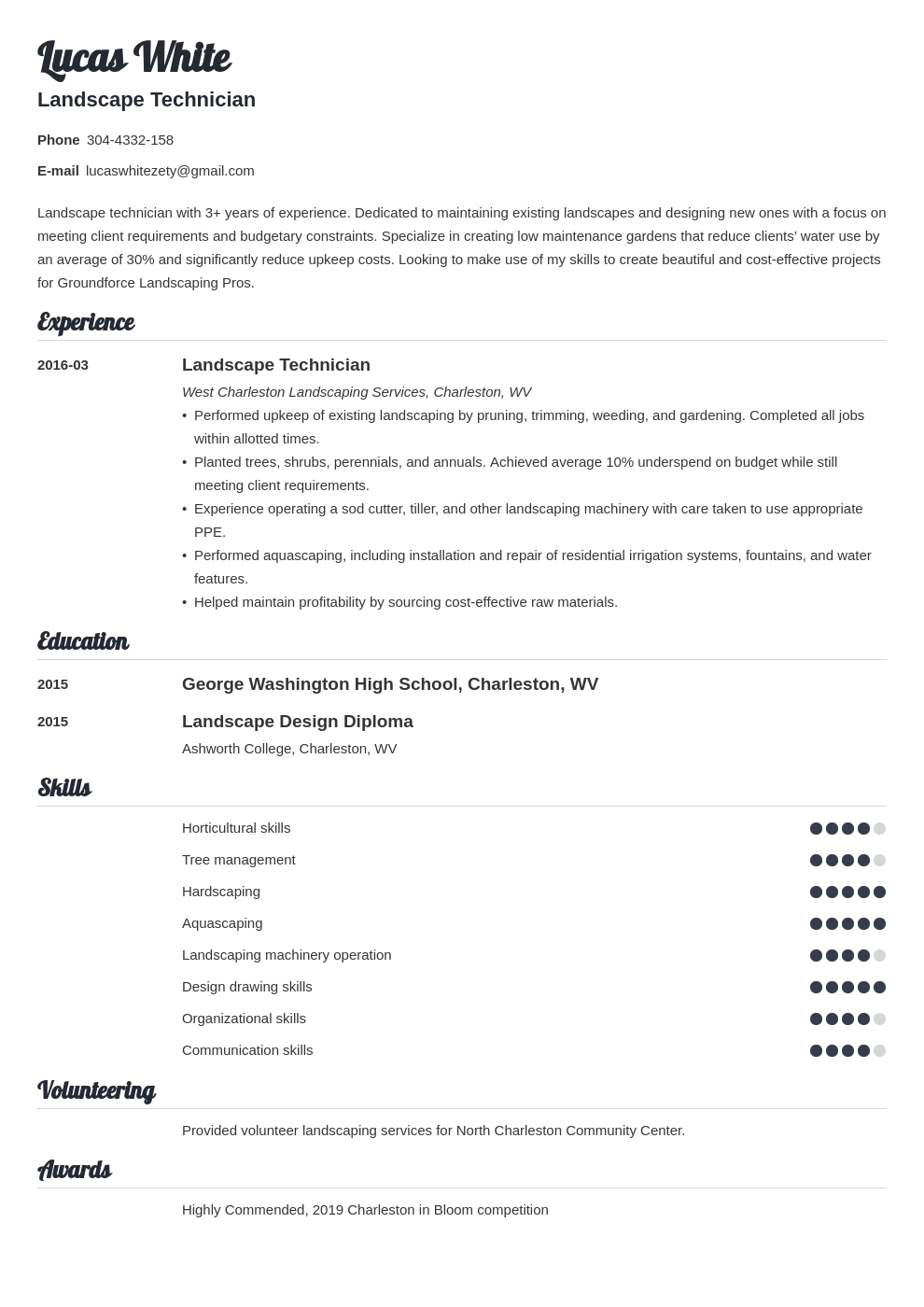 landscaping resume example template valera