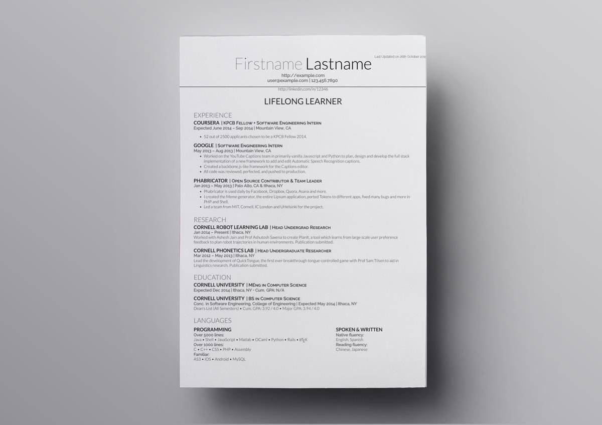 10 Latex Resume Templates Cv Templates