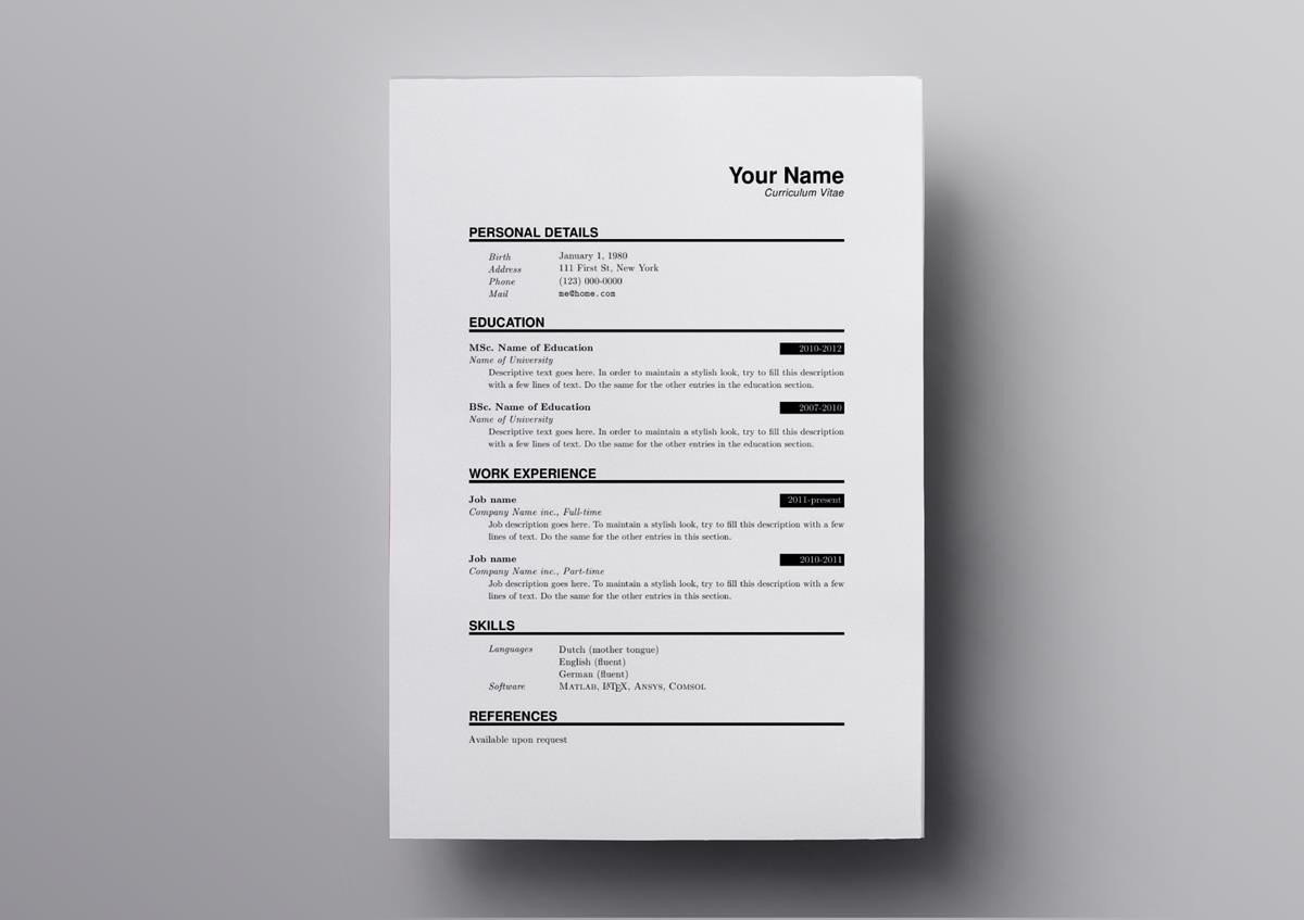 10  latex resume  u0026 cv templates  academic  u0026 tech jobs