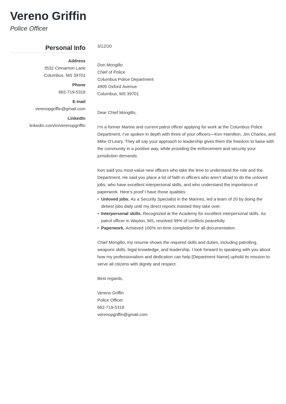Law Enforcement Cover Letter Examples Writing Guide