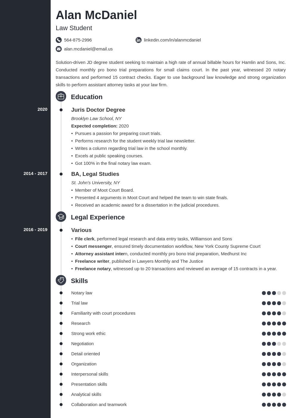 law school resume example template concept