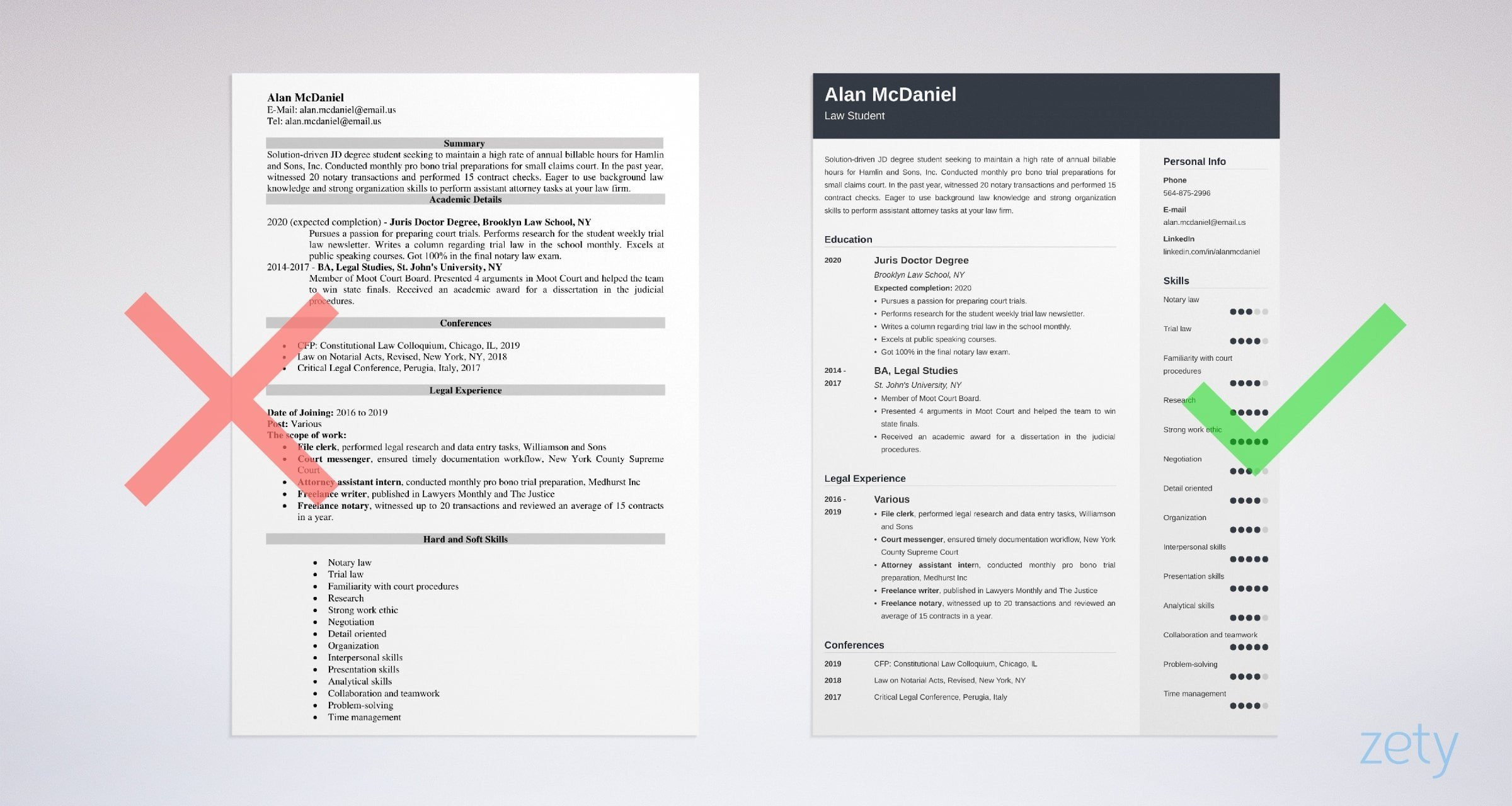 law student resume templates