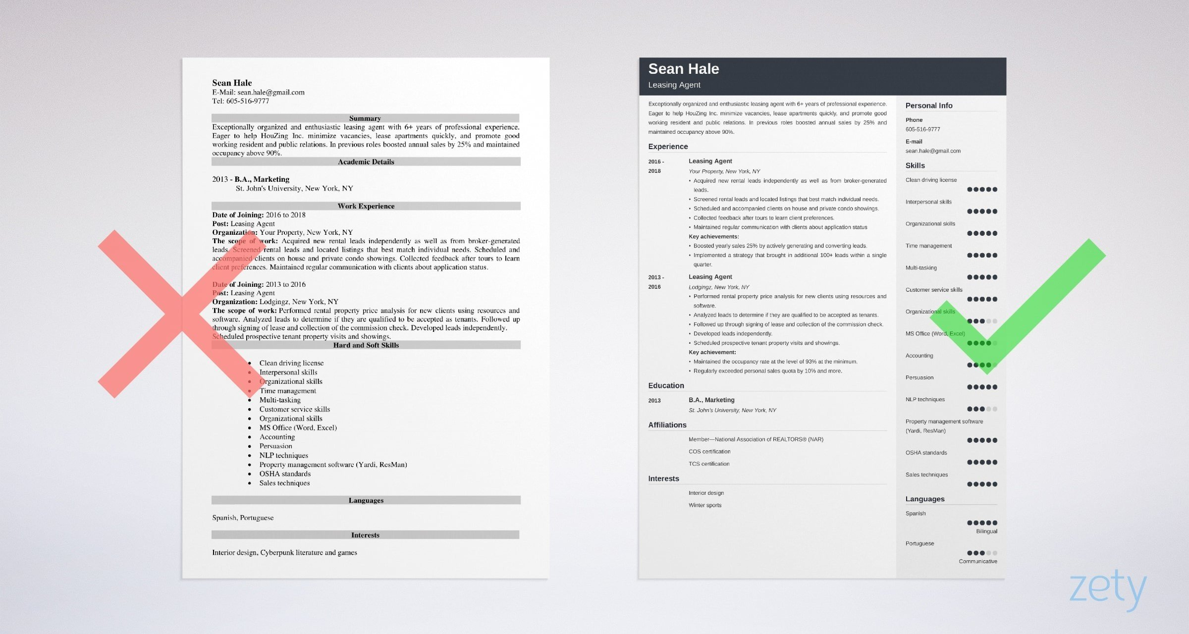 Leasing Agent Resume Templates
