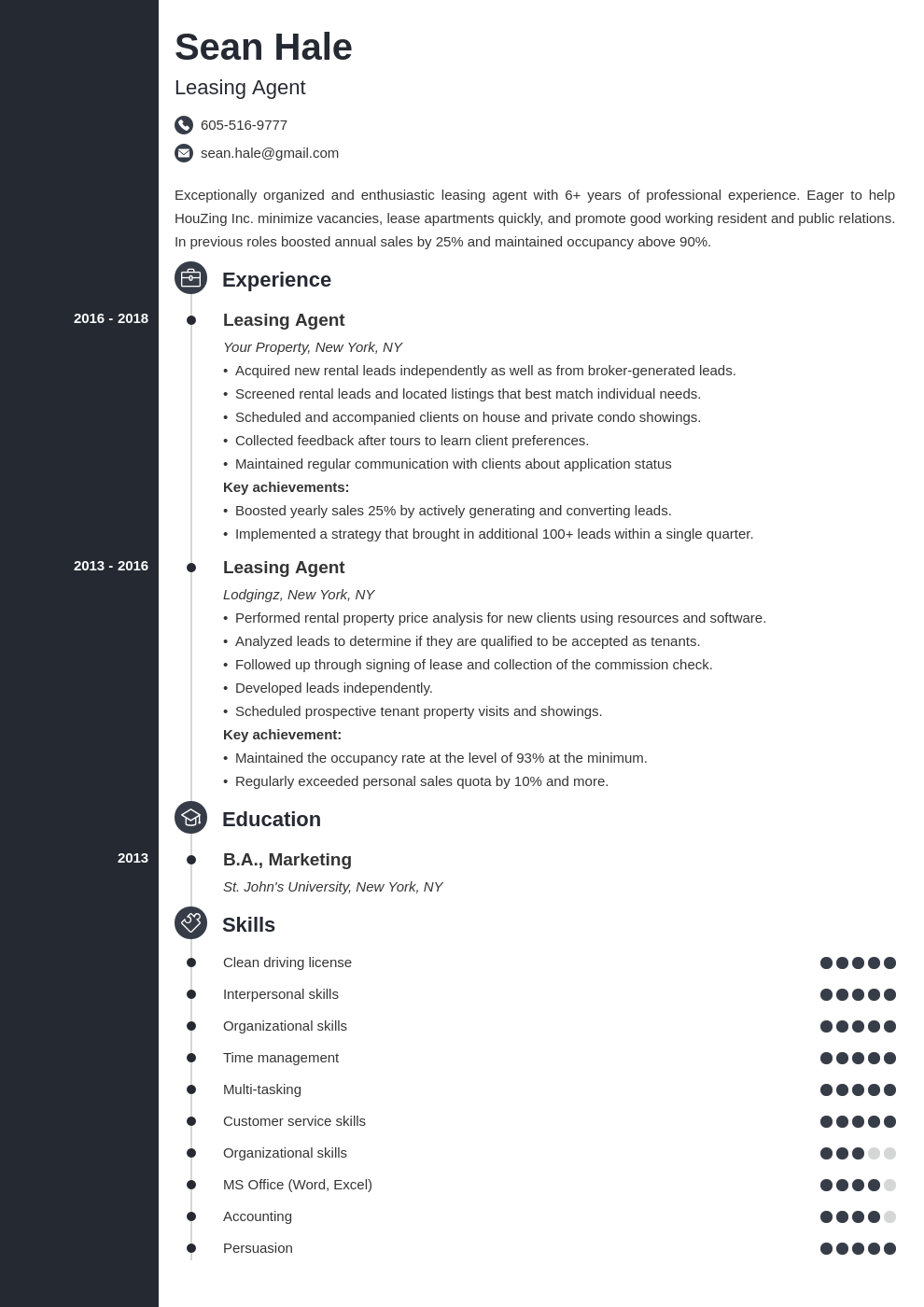 leasing agent resume example template concept