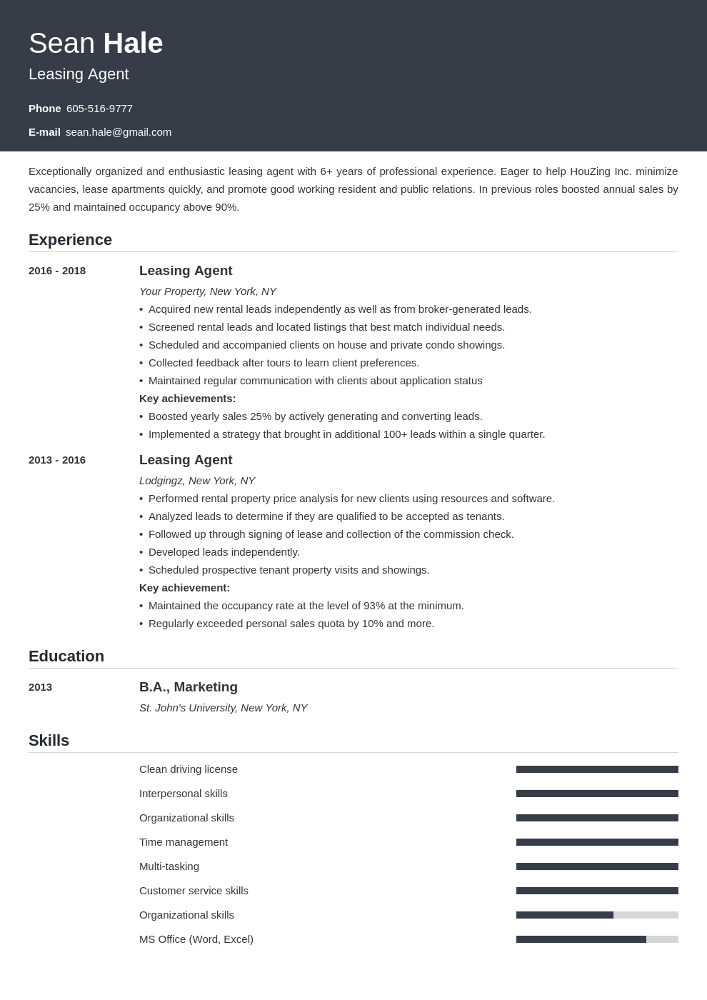 leasing agent resume example template influx