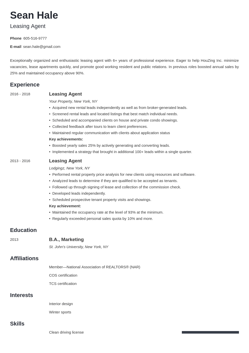 leasing agent resume example template minimo