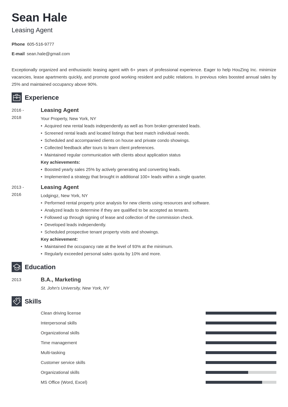leasing agent resume example template newcast