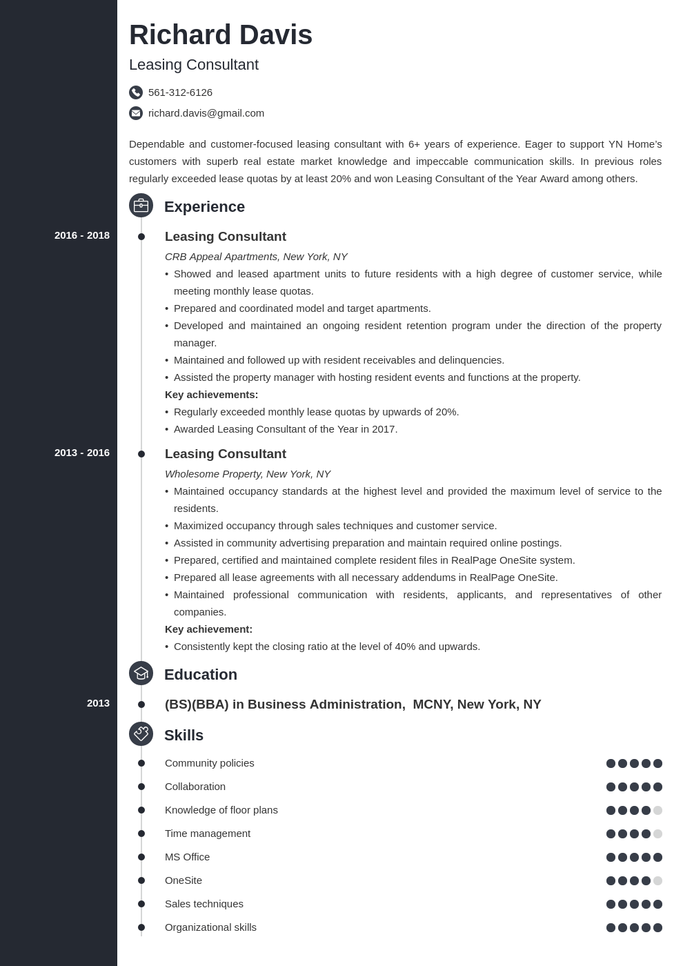 leasing consultant resume example template concept
