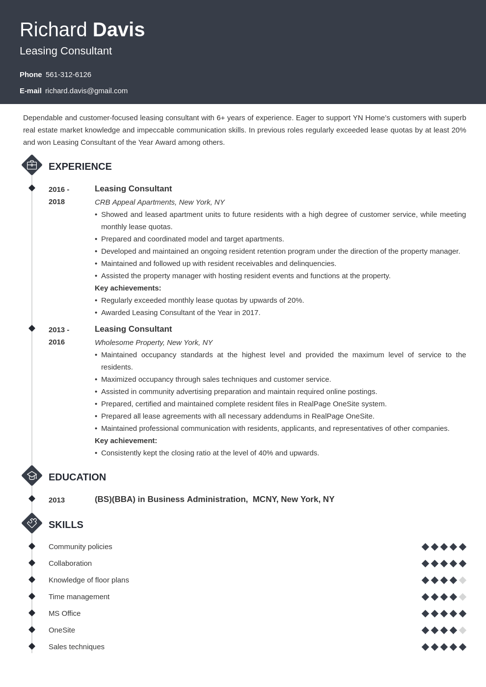 Leasing Consultant Resume Examples Guide Sample