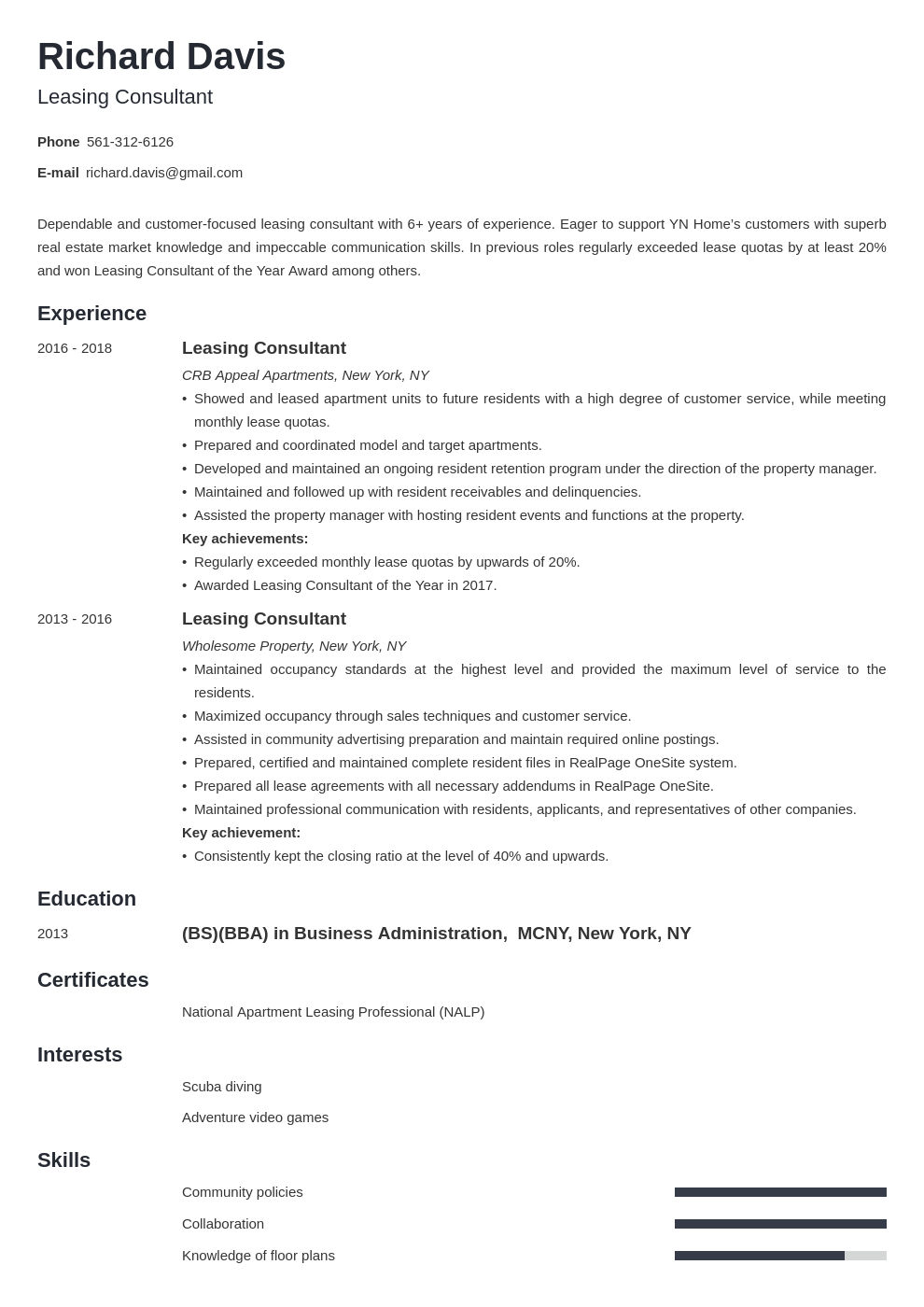 leasing consultant resume example template minimo