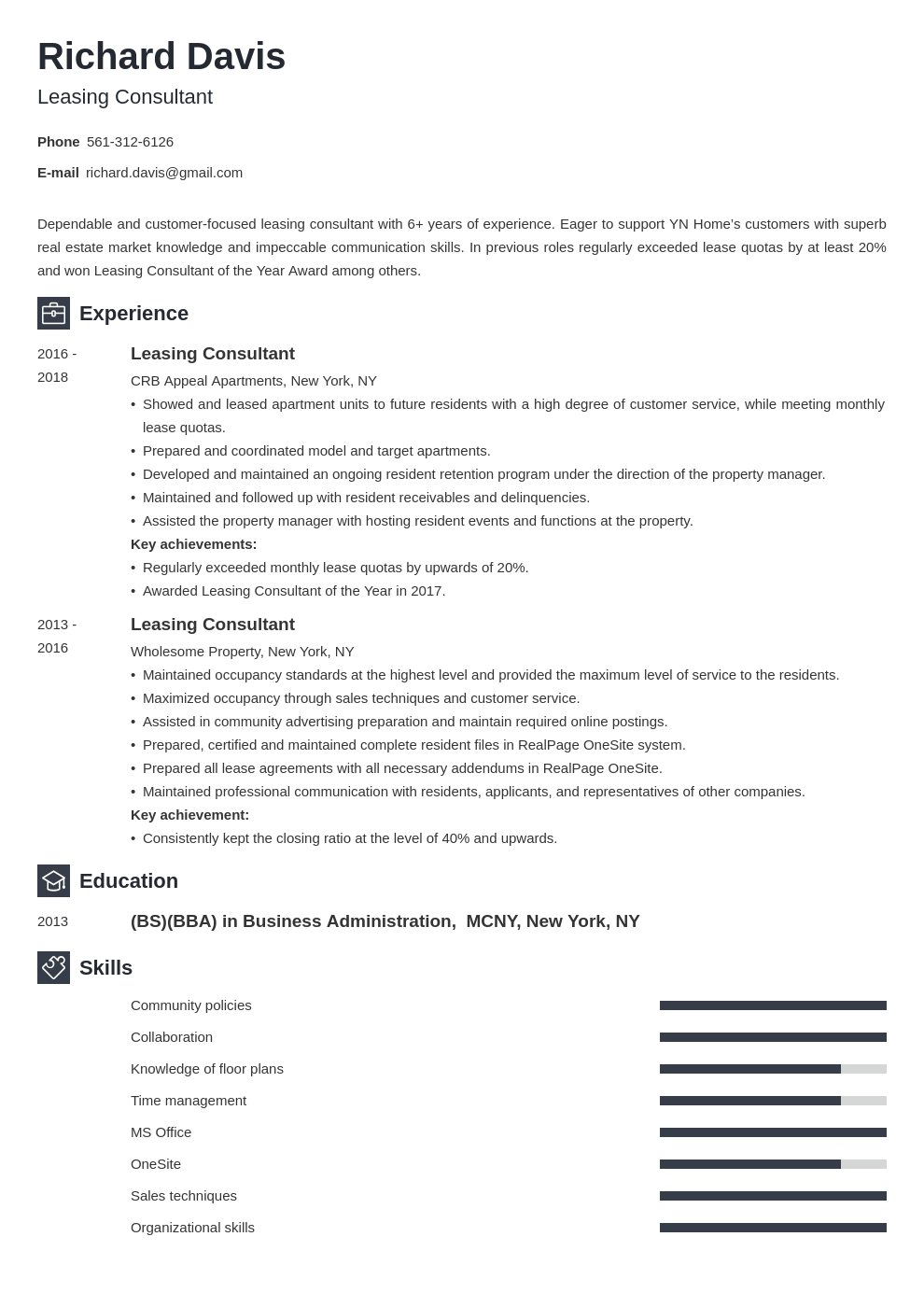 leasing consultant resume example template newcast