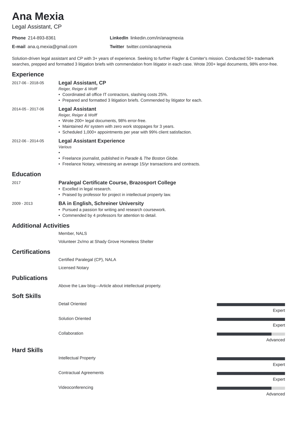 legal assistant resume sample and full writing guide 20 examples