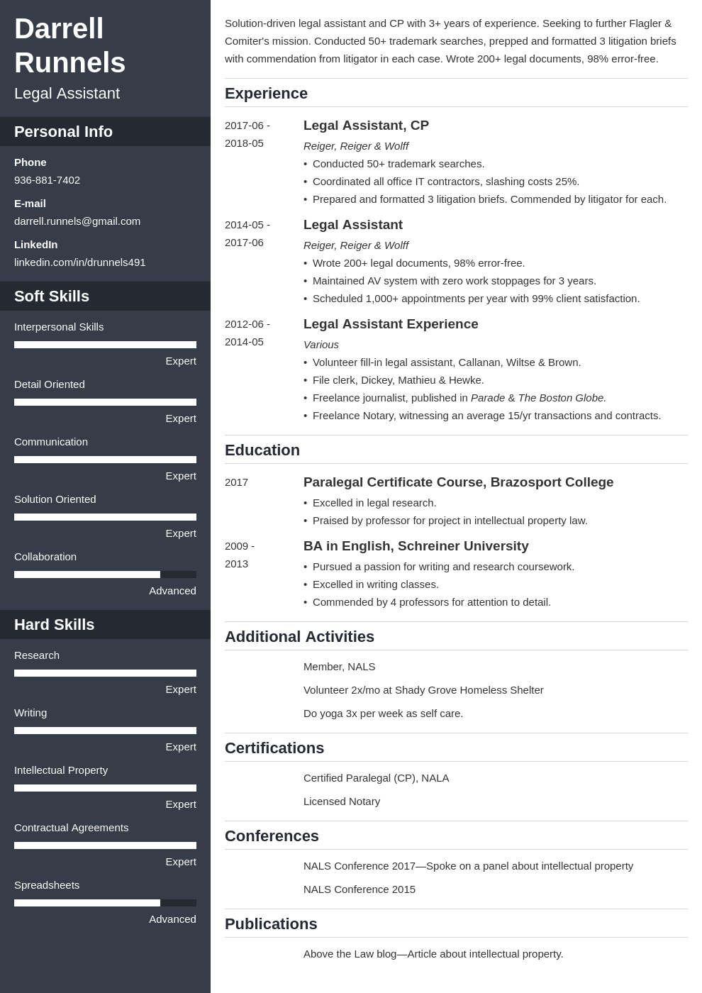 legal assistant resume example template cascade