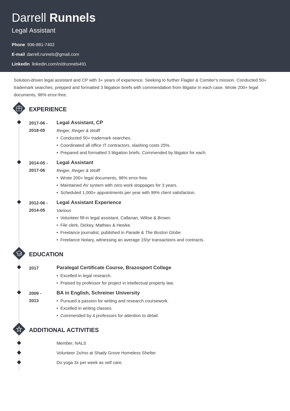 legal assistant resume example template diamond