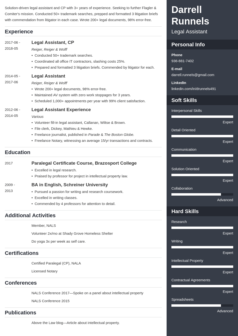 legal assistant resume example template enfold