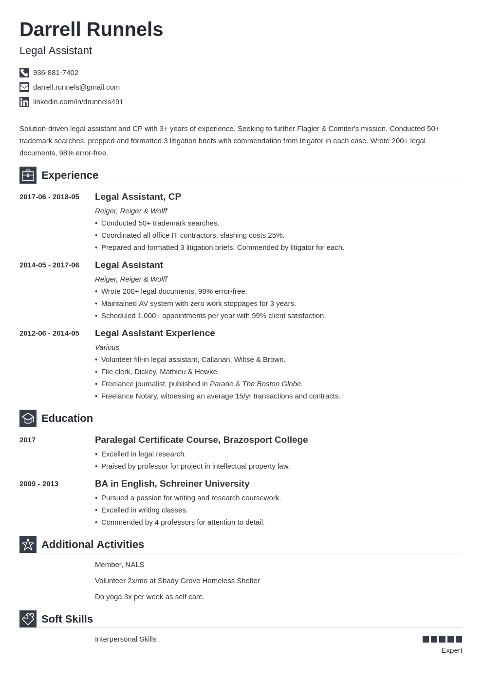 legal assistant resume example template iconic