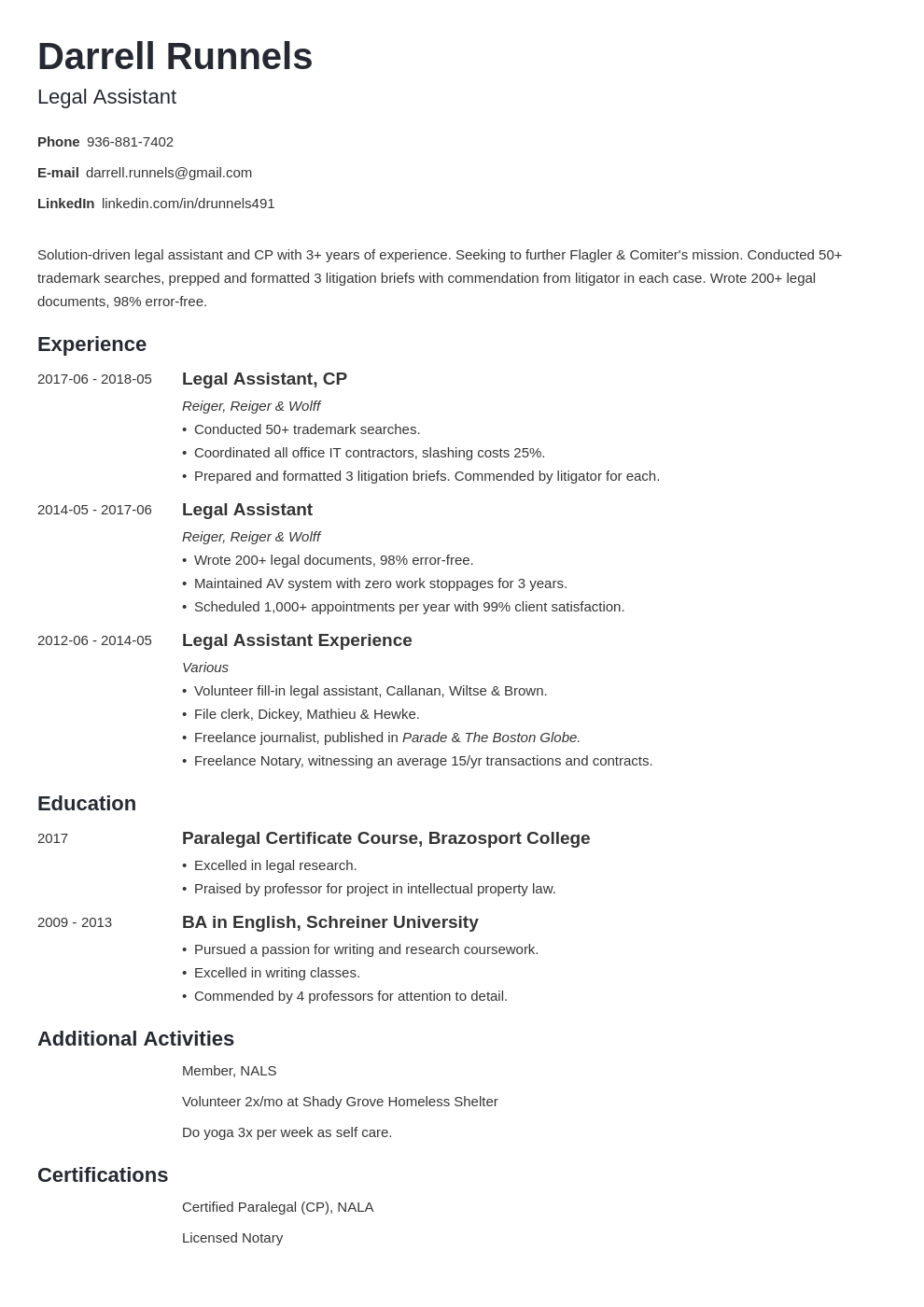 legal assistant resume example template minimo