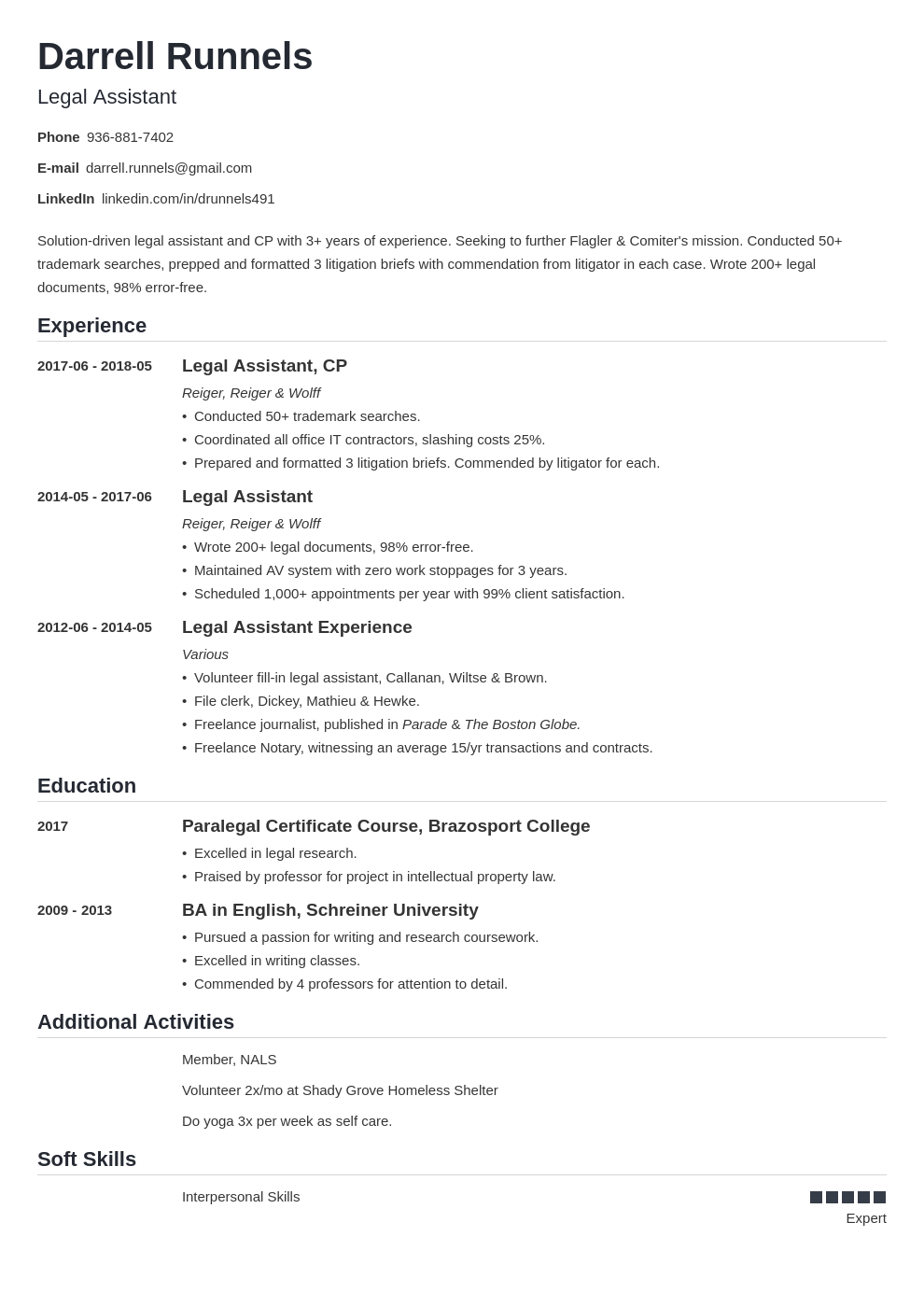 legal assistant resume example template nanica