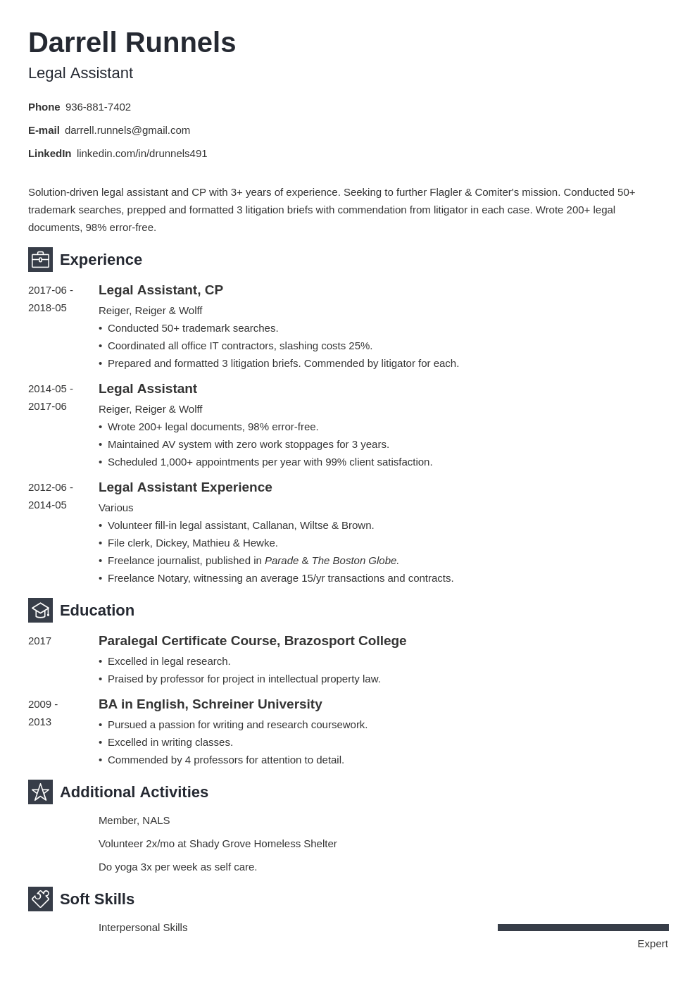 legal assistant resume example template newcast