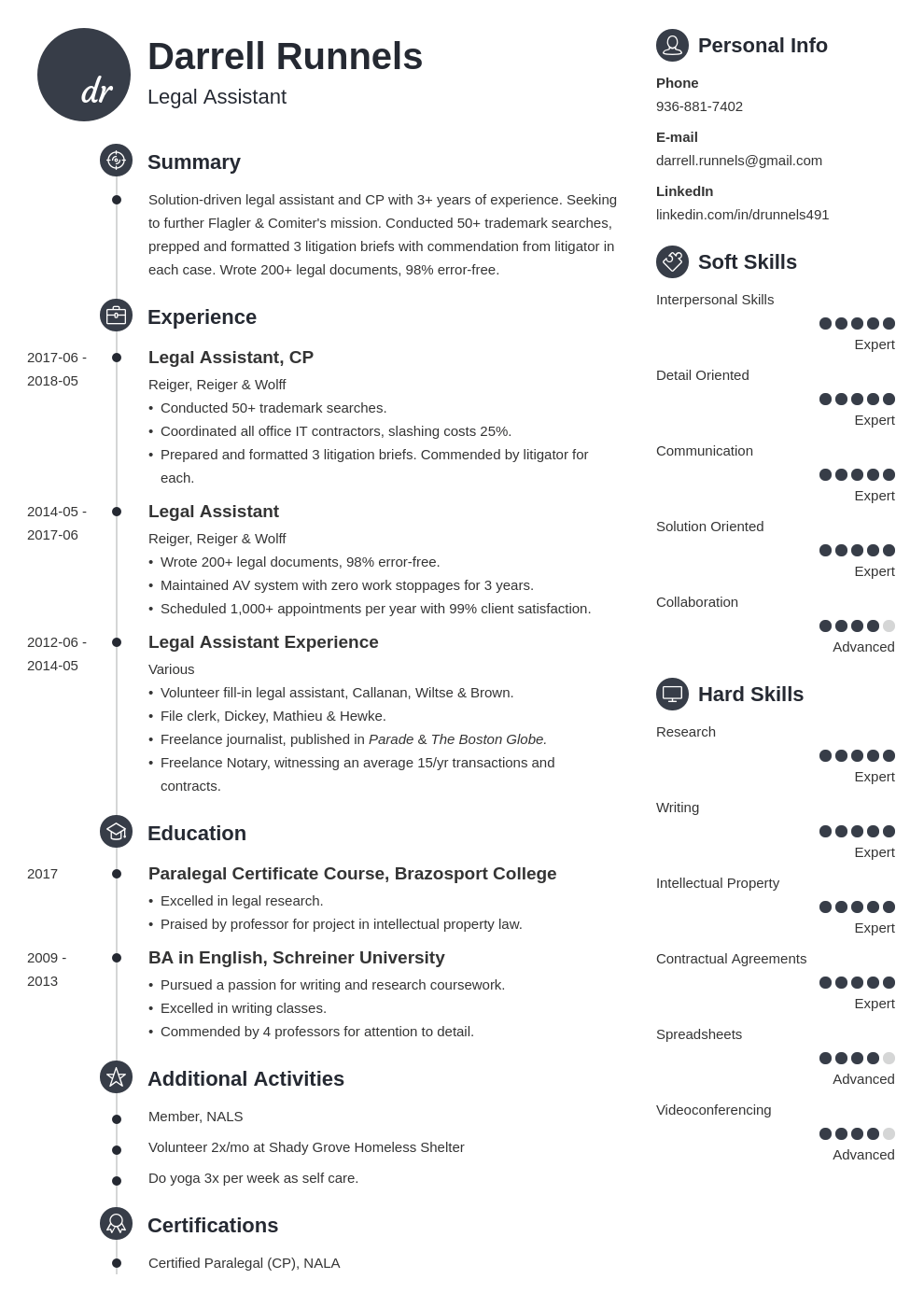legal assistant resume example template primo