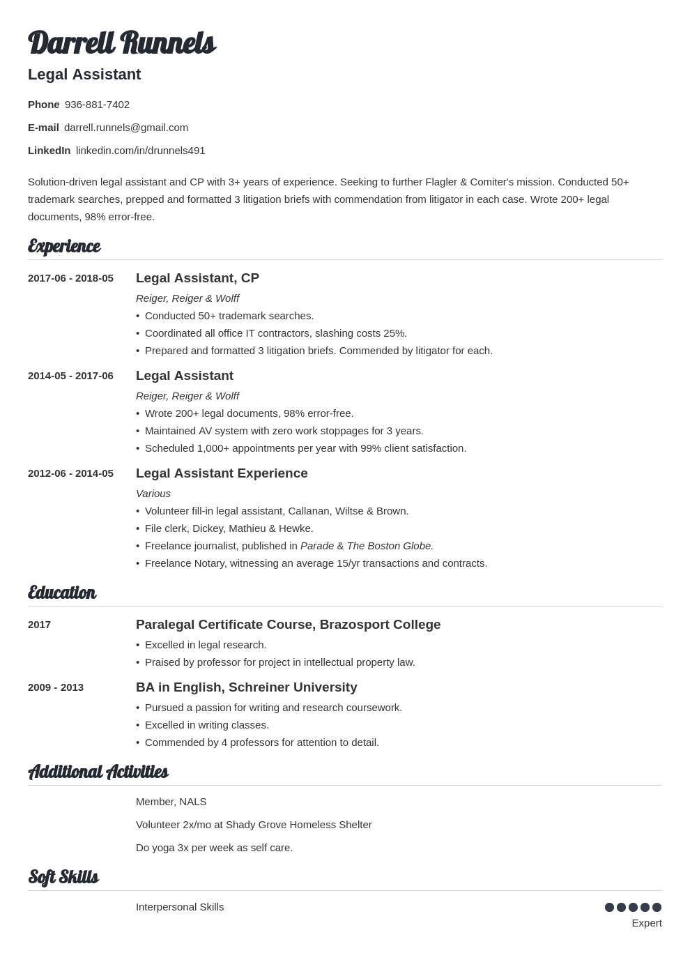 legal assistant resume example template valera