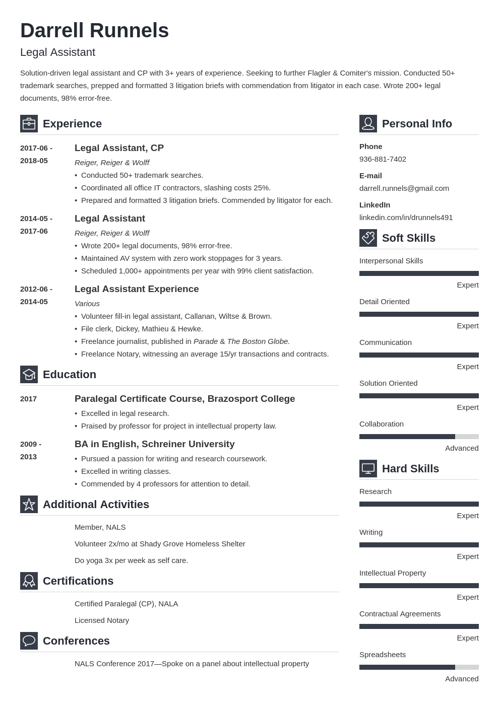 legal assistant resume example template vibes