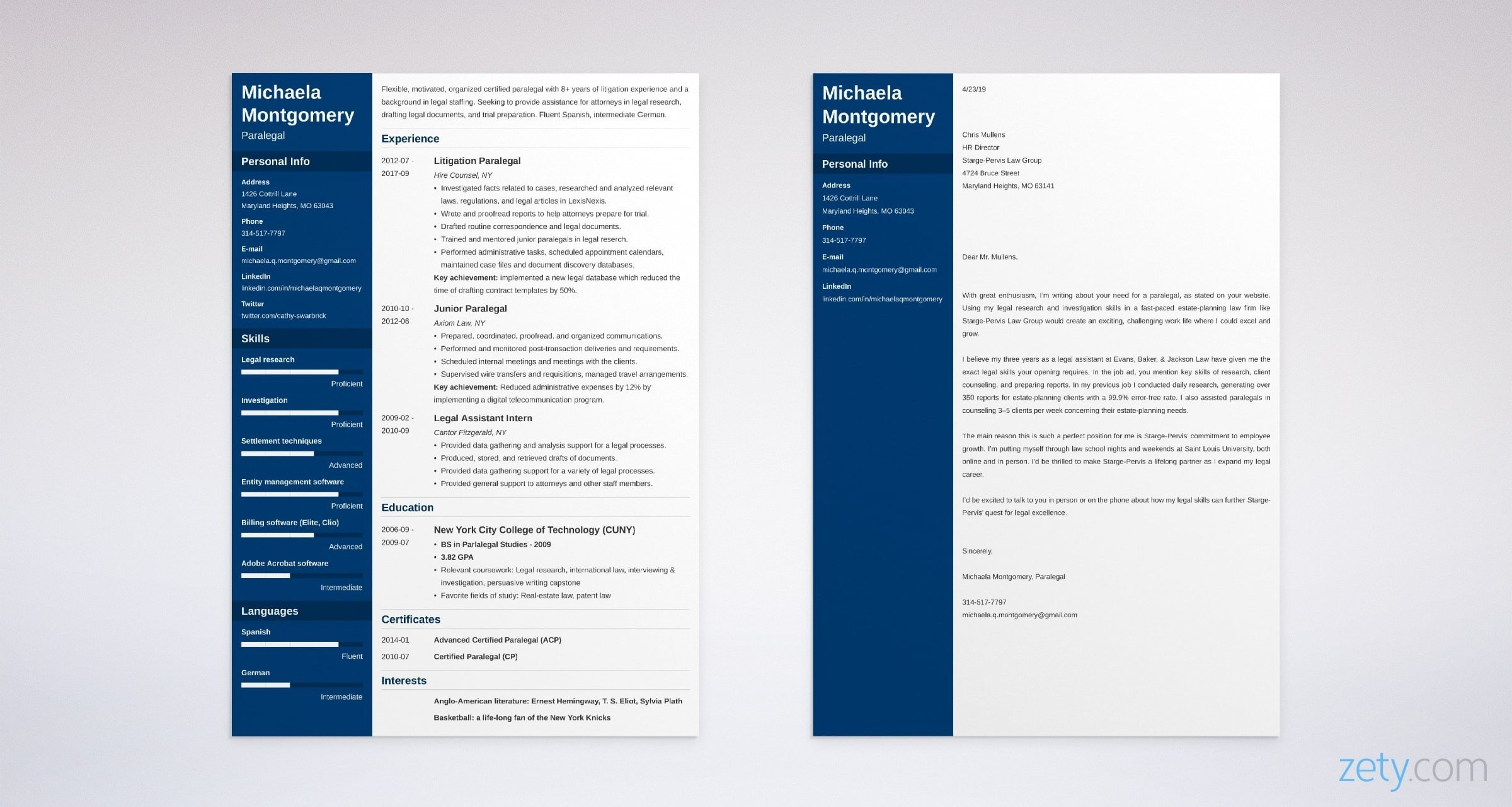 legal resume and cover letter set