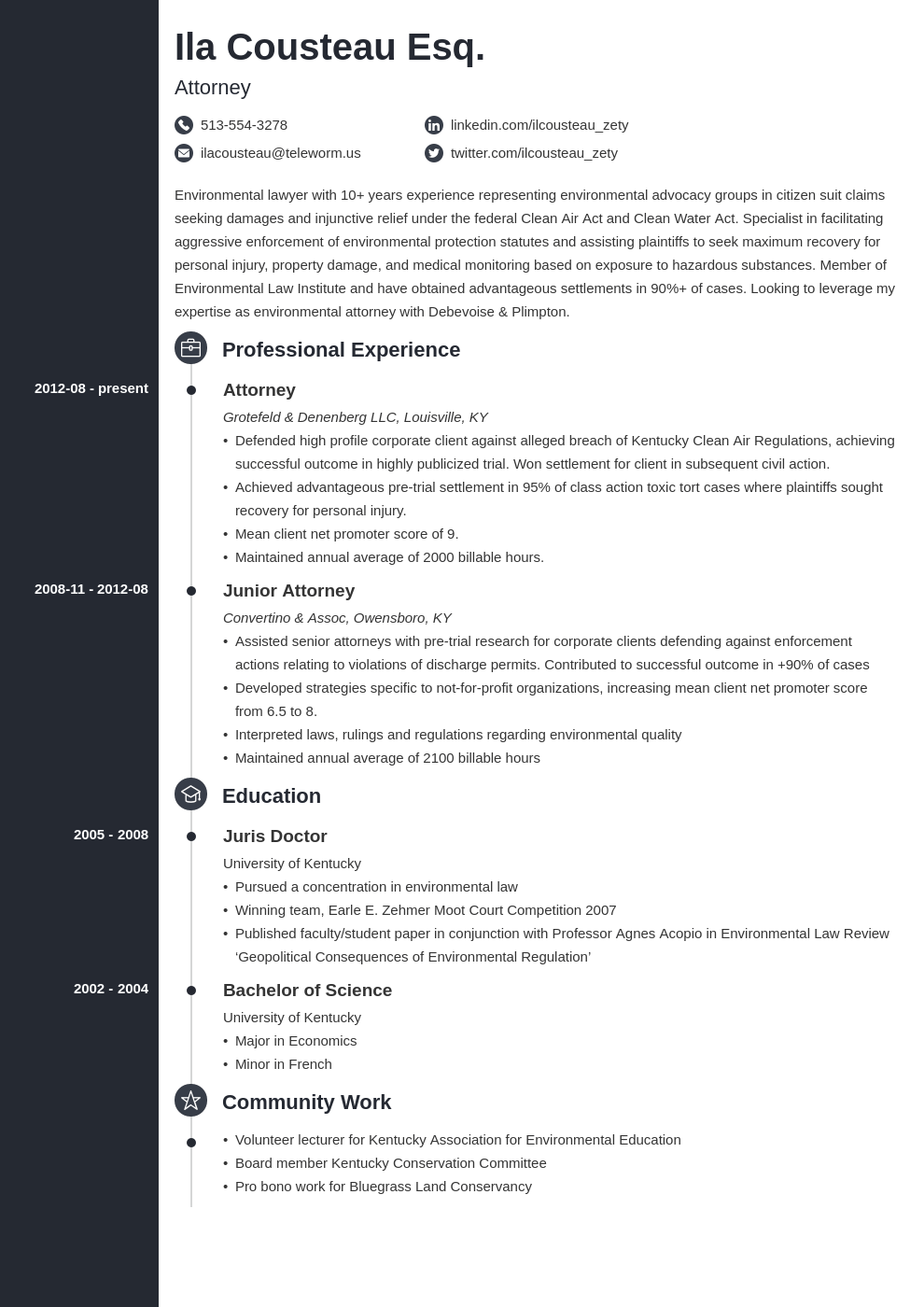 legal resume example template concept