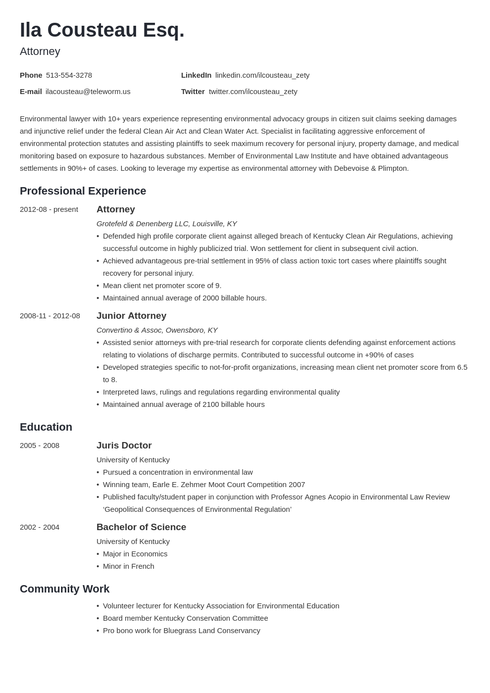 legal resume example template minimo