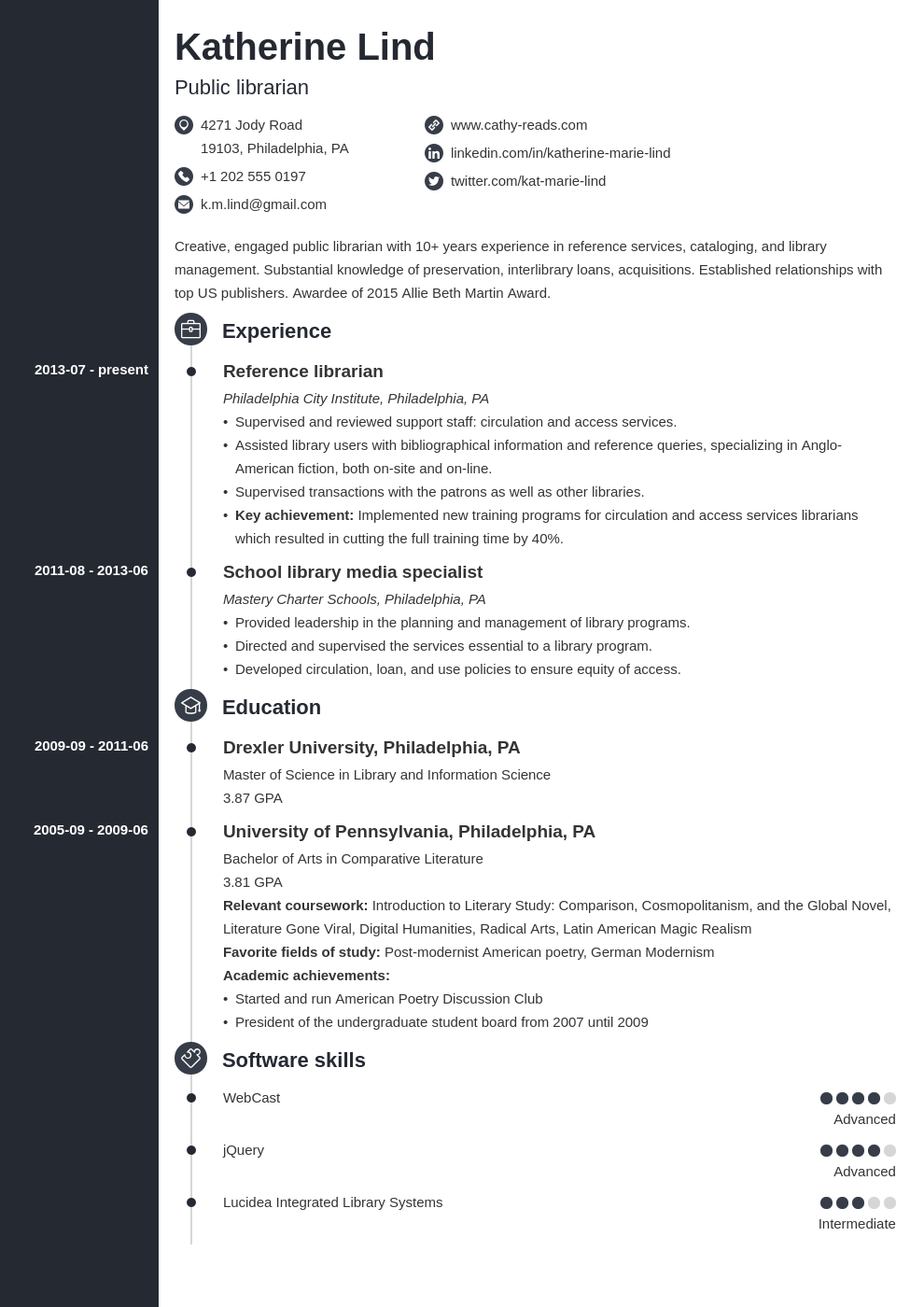 librarian resume example template concept