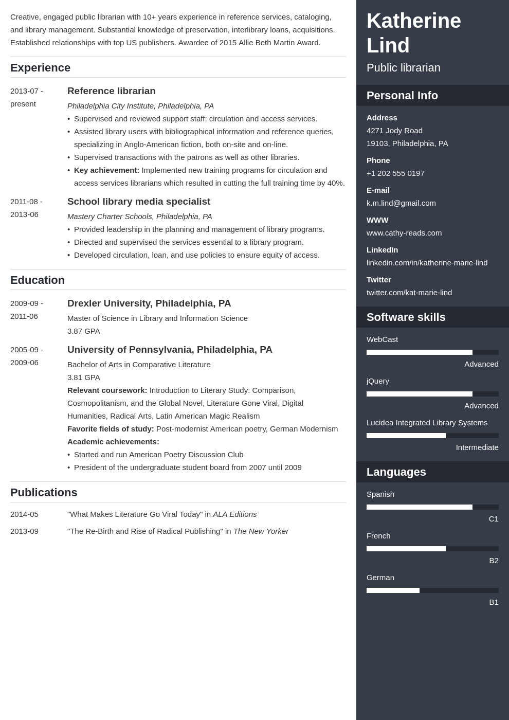 librarian resume example template enfold