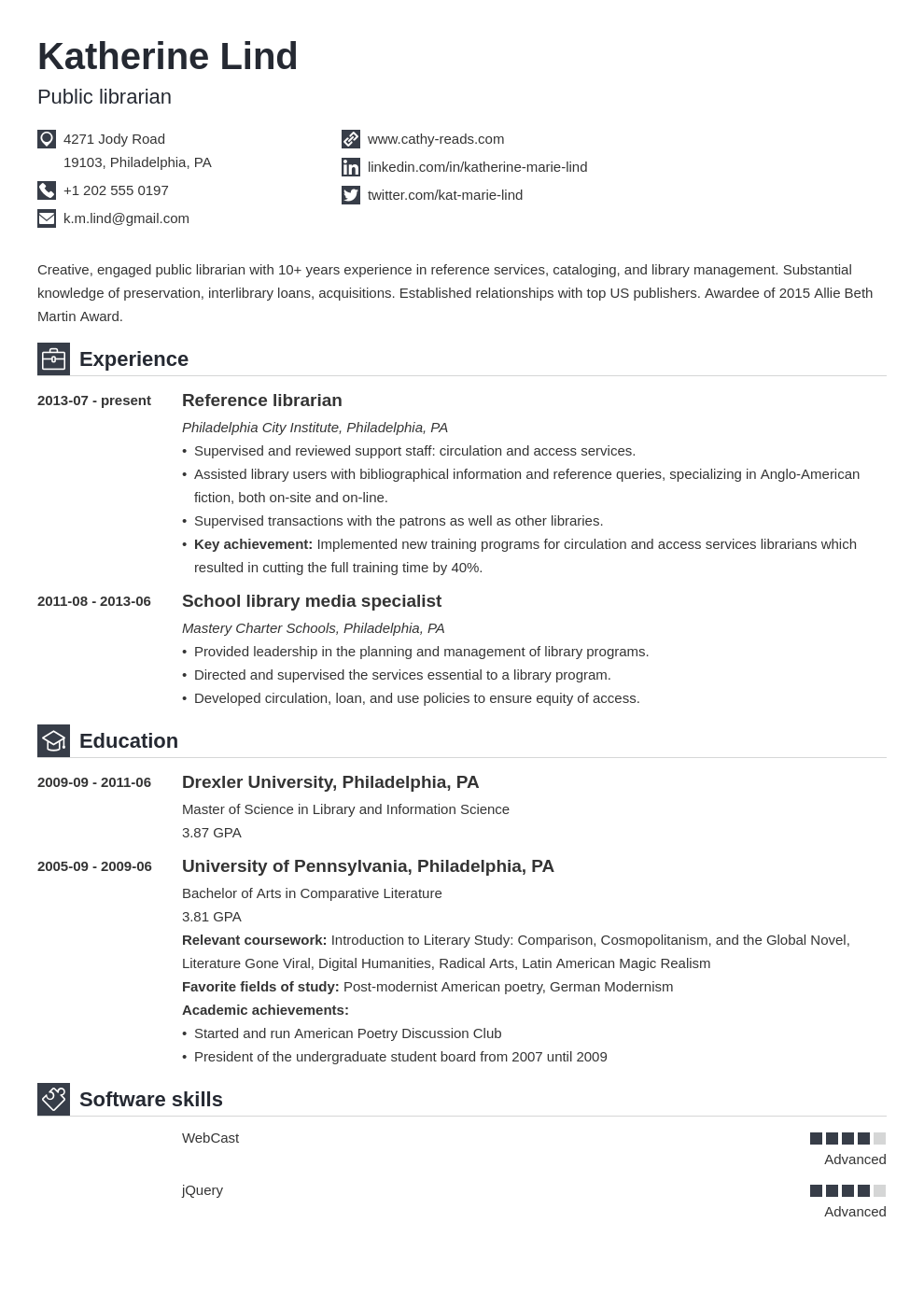 librarian resume example template iconic