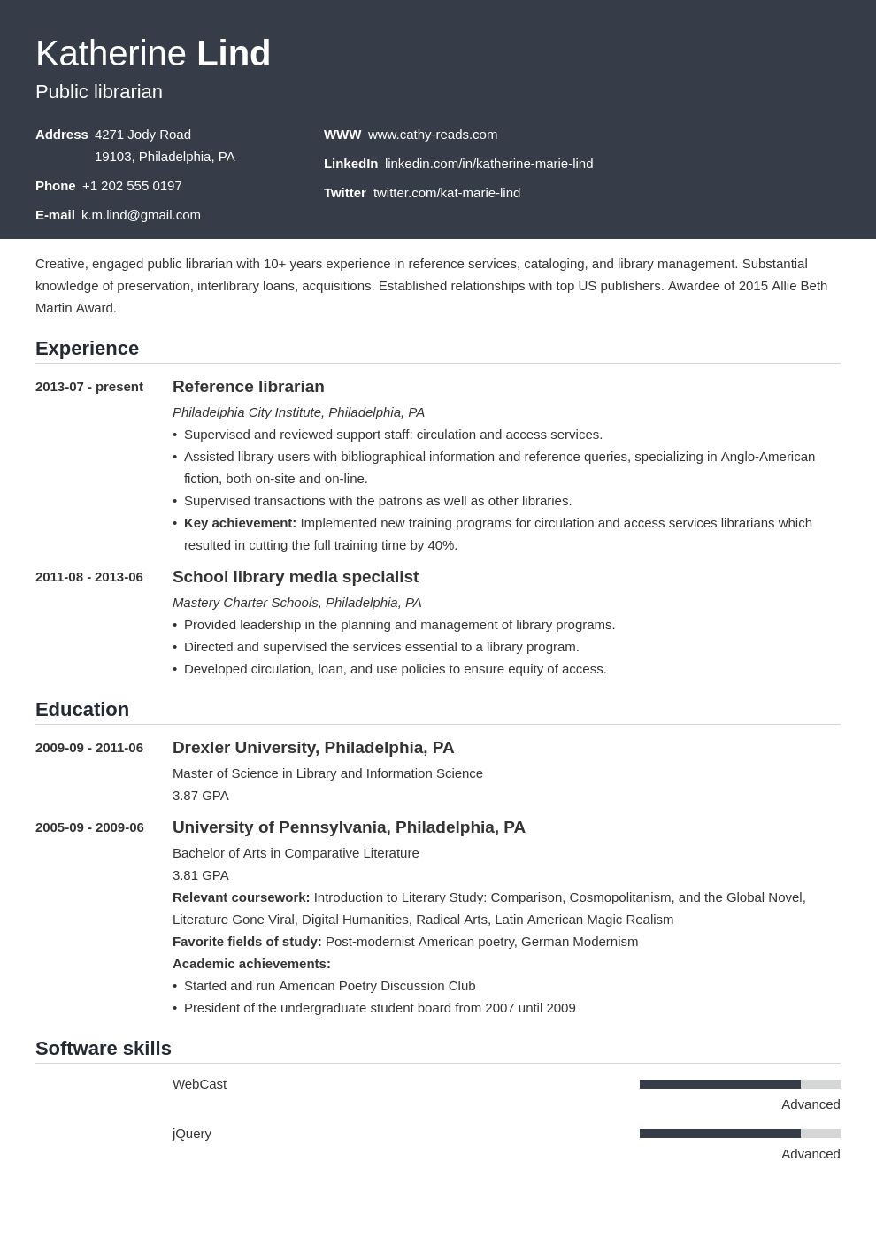 librarian resume example template influx